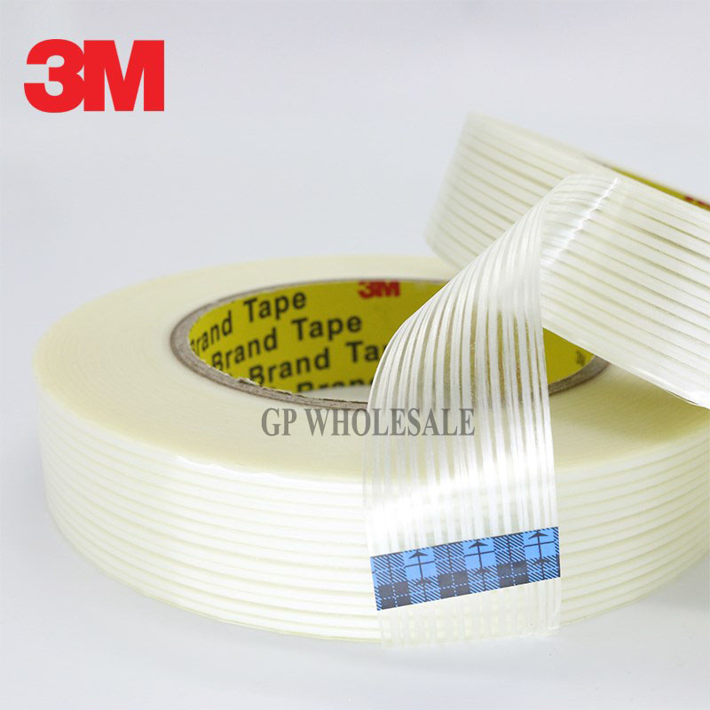 1x 40mm*55M 3M 8915 Adhesive Filament Tape, Strong Strength Tensile, Good Pack fasten for Heavy Box Carton, Wood, Goods, Device scotch high strength filament tape 94 x 60yds 89811 dmi rl