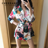 Cheerart Floral Blazer Women 2018 Autumn Women Fashion Print Blazer Casual Lace Up Long Ladies Blazer High Street