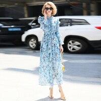 Взлетно посадочной полосы платье женские 2018 новые летние модные с длинными рукавами высокое качество Цветочный принт элегантный оборками
