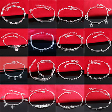 925 Silver Bracelet Sterling Girl Women Bangle for Hand Chain Round Tassel Anklet Vintage Lady Jewelry Accessories vintage tassel engraved round arm chain for women
