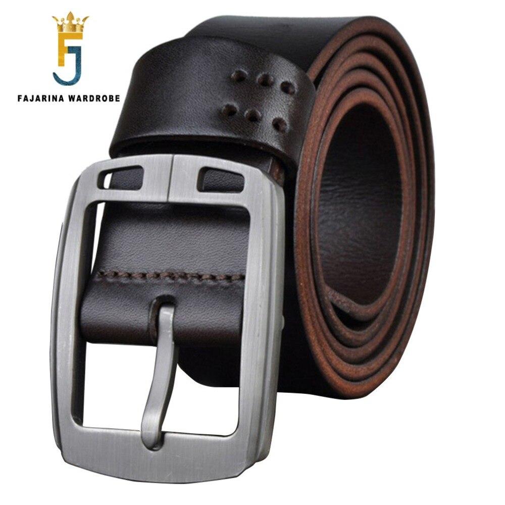 FAJARINA Calidad Retro de Los Hombres Cinturones de Diseño Hombres de Alta Calidad  Pin Hebilla de Cinturón de Castidad de Cuero para Hombres 3.8 cm ... 0306766b8095