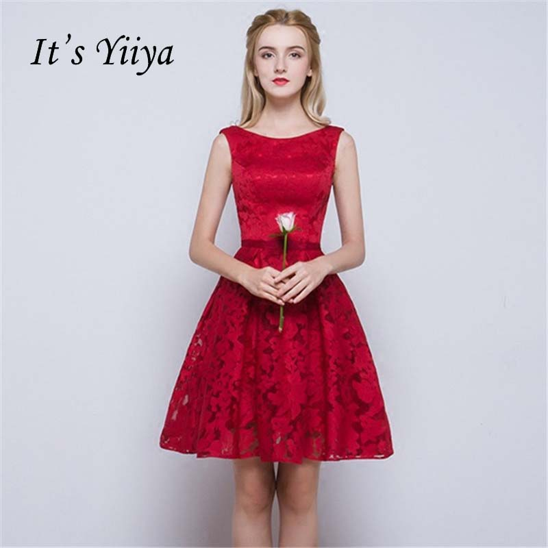 It's YiiYa New Red O-neck Sleeveless Draped Simple Knee Length Dinner   Bridesmaids     Dresses   Zipper Party Short Formal   Dress   YS039