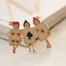 Japanese Style Alice In Wonderland Metal Gold Color Chain Enamel Poker Pendant Necklace For Women Girls Kids Christmas Gifts