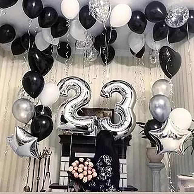 20pcs Lot Black White Party Balloons 18 20 25 30th Birthday Decorations Baloons Event
