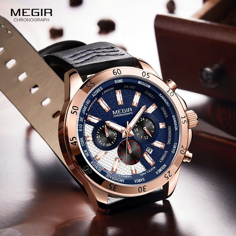MEGIR Mens Chronograph Watches Leather Strap Waterproof Luminous Quartz Army Sports Relogios Masculino 2103Rose blue
