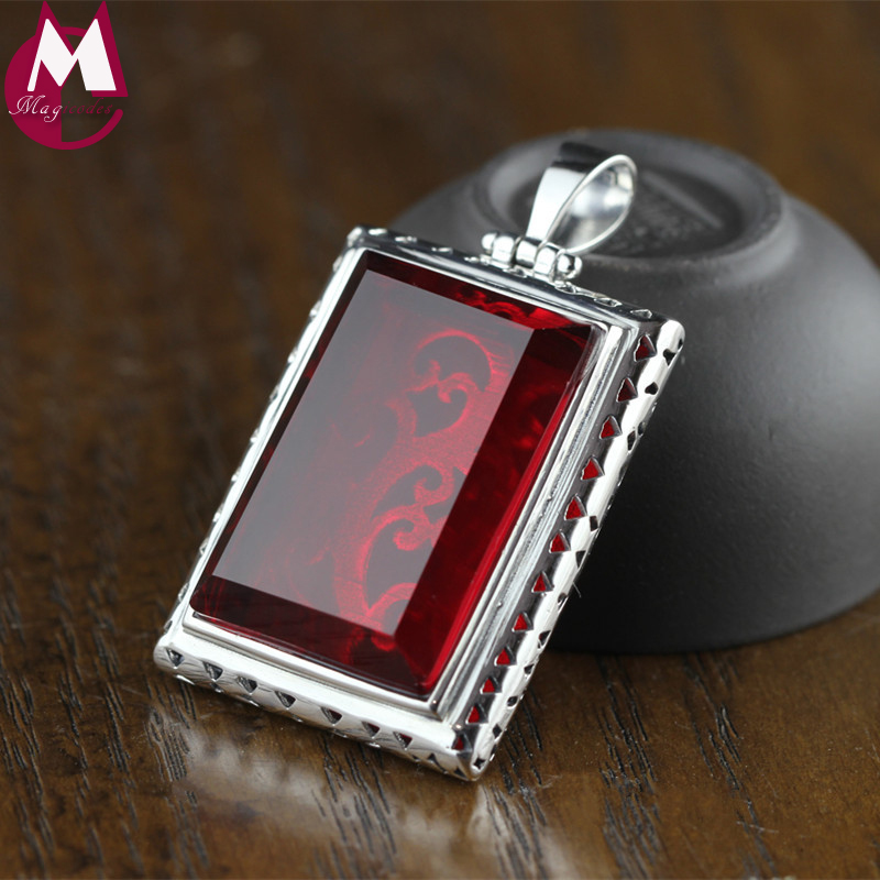 33*23mm Rectangle Big Ruby Black Agate Hollow Carving Flower Ethnic Jewelry Real 925 Sterling Silver Necklace Pendant For Women stylish golden hollow rounded rectangle hasp bracelet for women