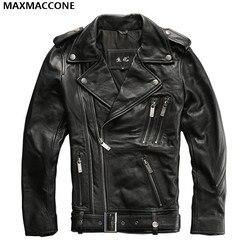 2017 men black genuine leather motorcycle jacket double diagonal zipper real thick cowhide men slim fit.jpg 250x250