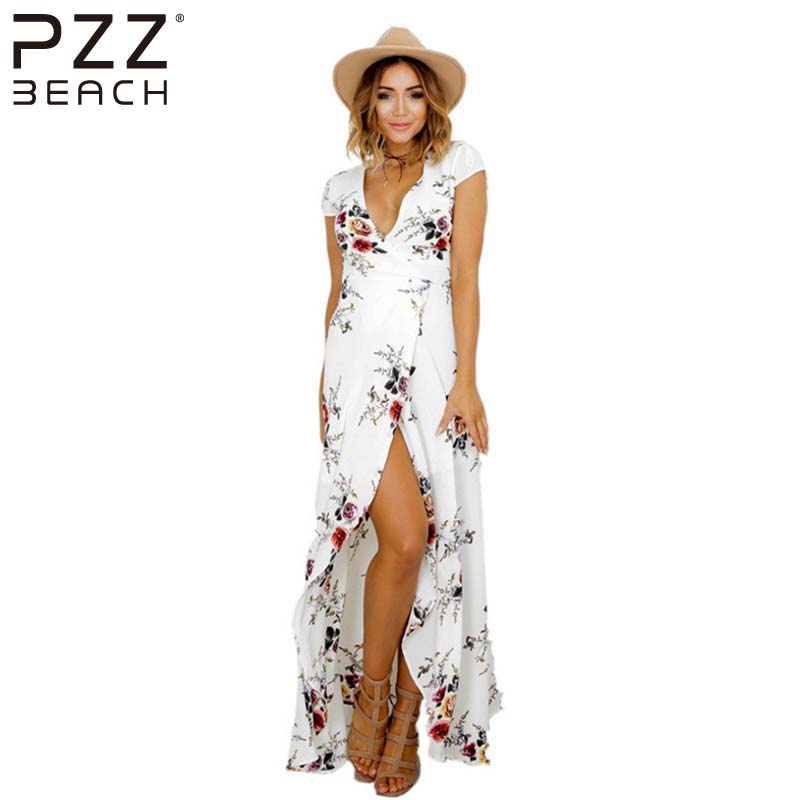 48a0c43a5e4 2017 Boho style long dress women Plus Size beach summer dresses Floral print  Vintage chiffon white maxi dress vestido longo