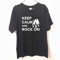 New Camisetas Guitar Bass Print Brand Clothing Men S Hip Hop Keep Calm And Rock On