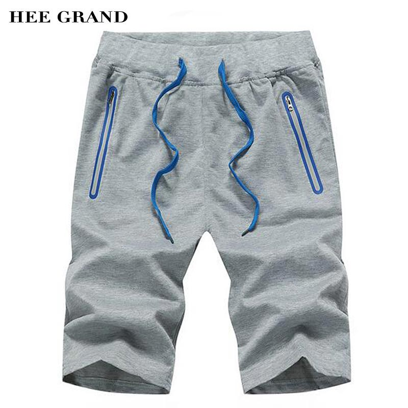 HEE GRAND Men Knee Length Shorts 2017 Summer New Arrival Casual Straight Drawstring Shorts Plus Size