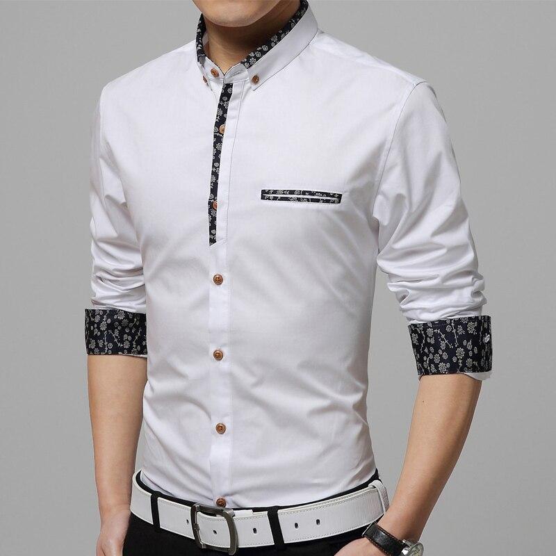 Shirt men 2017 new men Slim casual long sleeved shirt solid color ...