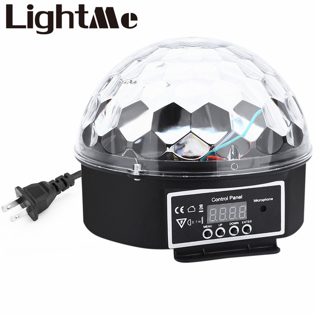 9 Colors 27W Premium Sound Control Stage Light 90-240V  RGB LED Magic Crystal Ball Lamp Disco Light Laser Wedding Party Lamp
