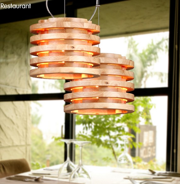 American Loft Style Wood Art Modern Droplight Edison Pendant Light Fixtures For Dining Room Hanging Lamp