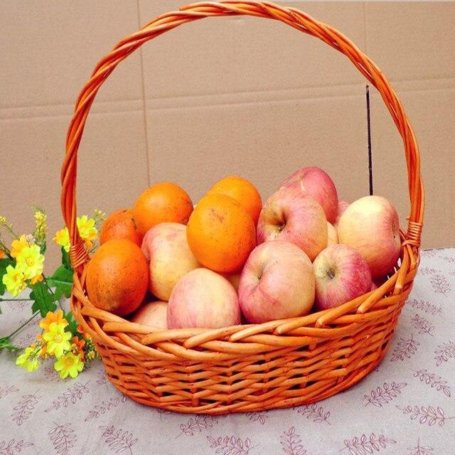 2017 Creative Manual Cane Fruit And Vegetable Basket Gift Basket Packaging  Egg Basket Wine Basket