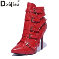 DoraTasia 2017 Trendy New Normal Size 34 39 Fringe Super Thin High Heels Woman Pointed Toe