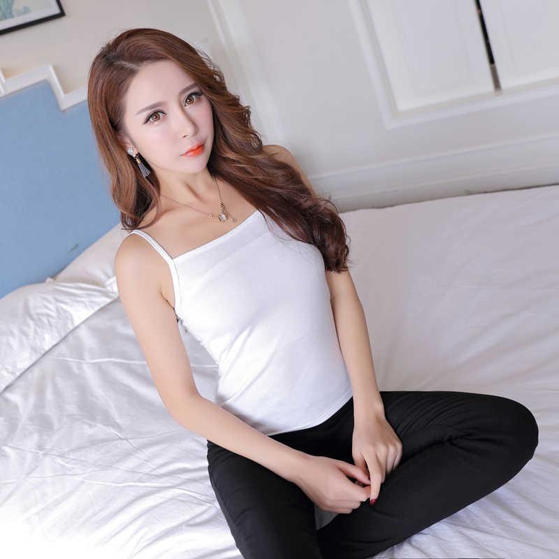 Базовый стиль черный белый сплошной цвет сексуальный топ без рукавов рубашка слинг майки жилеты летние топы для женщин дамы FS0592