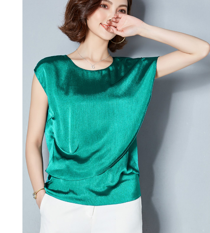 cebdab283fecb8 Detail feedback questions about short sleeve ruffles sleeve jpg 711x790 Green  satin blouse