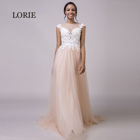 LORIE Coral Wedding Dress 2018 Appliques Lace Beach Wedding Gown Long Custom Made Tulle Zipper Back