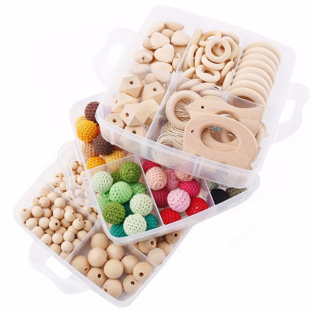 1 Set bricolage artisanat cadeaux Crochet perles perles en bois jouets de dentition fait à la main faisant collier Bracelet pendentif en bois bébé produits