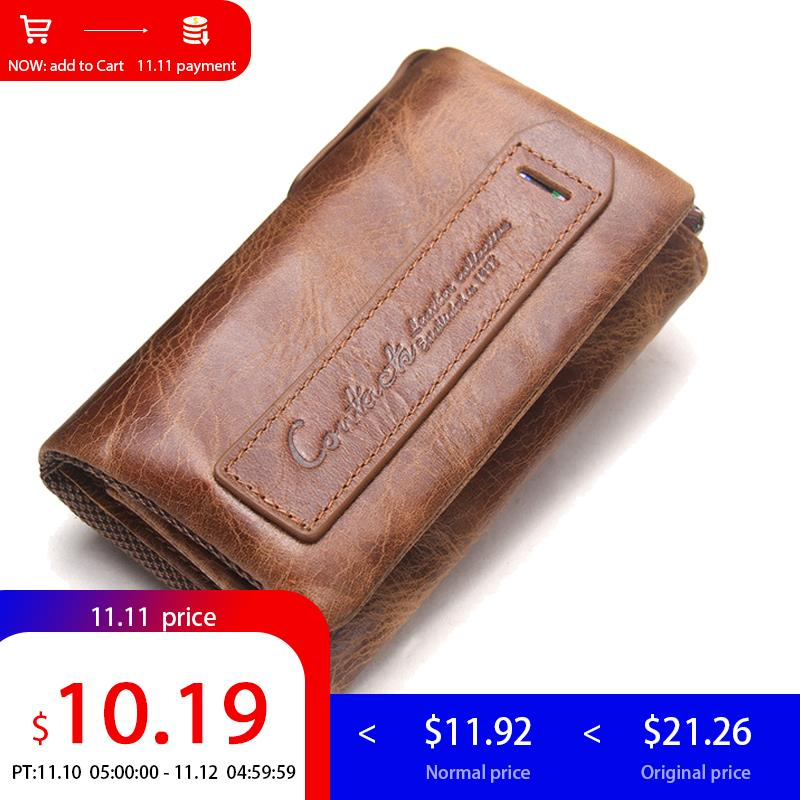 CONTACT'S Men Wallet Genuine Leather Housekeeper Car Key Key Coin Purse Case Key Holder Wallet Organizer Bag Small Portfolio fat fish key wallet coin purse package characteristics of the national wind cloth animal key sets key ring wholesale mixed batch