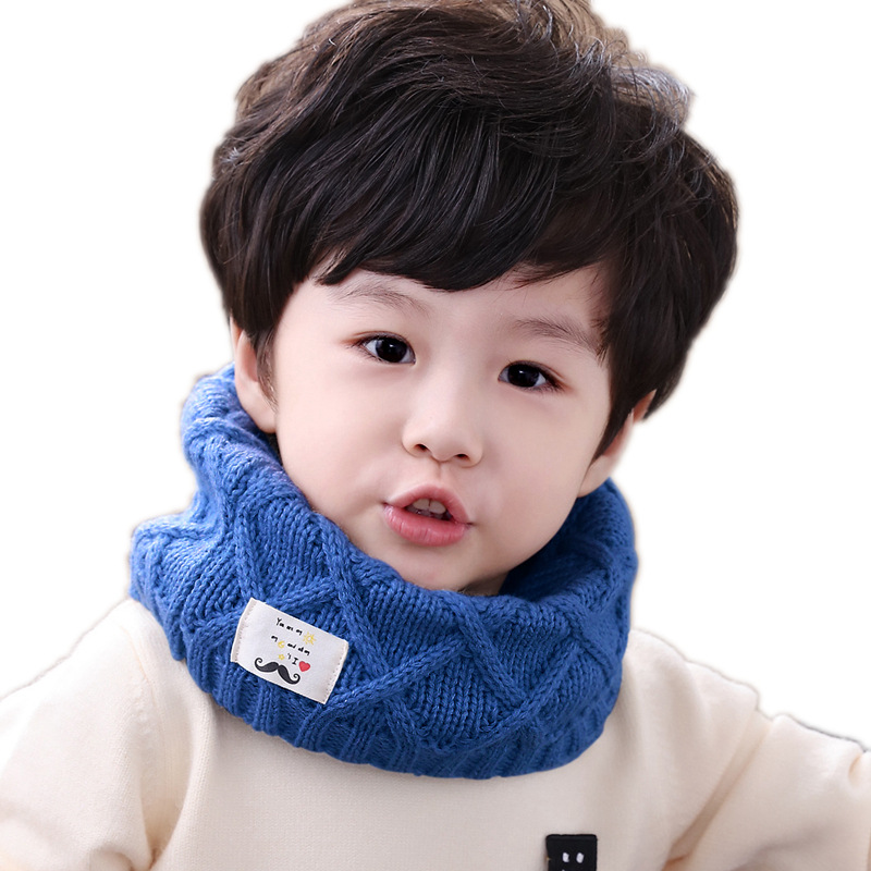 Autumn Winter Cotton Baby Scarf Children Girl Boy Kintted Wool O-Scarves Chidren Solid Color Cotton Scarf Kids Warm Neck Collar