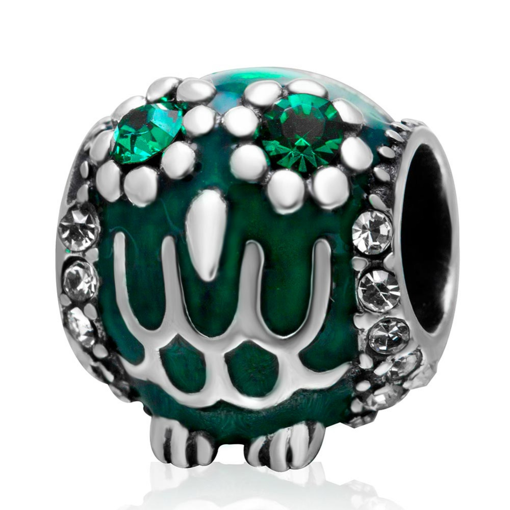 Green Cubic Zirconia Owl Beads Original 925 Sterling Silver Charms Fit Pandora  Bracelet European Style Diy