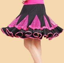 Бального латинской танца скидка блестящий блесток стандартный розовый новая юбка взрослых