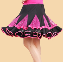 New Discount Adult Red Green Rose Red Shiny Sequin Latin Skirt Women Standard Ballroom Dance Dress LAT14