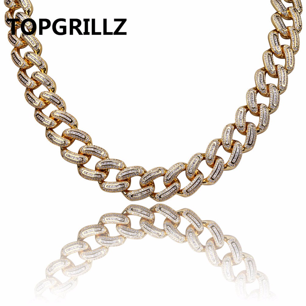 Фото TOPGRILLZ Hip Hop Men Jewelry Necklace Copper Gold/Silver Color Plated Micro Paved CZ Stone 18mm Chain Necklaces 18inch 22inch. Купить в РФ