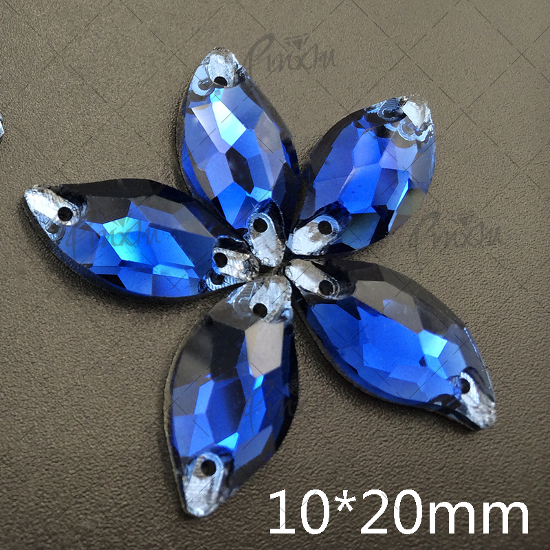 Монтана 10 * 20 мм форма листа 120 шт. горный хрусталь 9 * 20 мм пришить камень кристалл Flatback 2 отверстия оптовая продажа