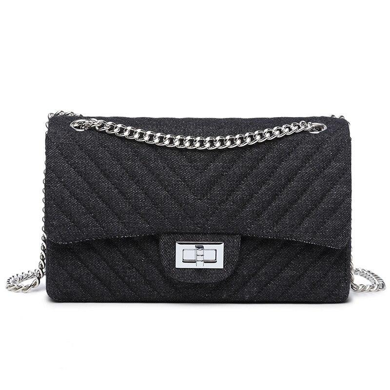 hot sale weave chain ladies shouler bag demin messenger bag ladies bag bolos fashion small flap bag with lock