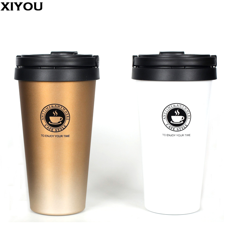 XIYOU Stainless Vacuum Coffee Mugs Travel Mug Self Stirring Mug Coffe Cup Cafe Cups Drinkware Unique Gift Thermos Water Bottle
