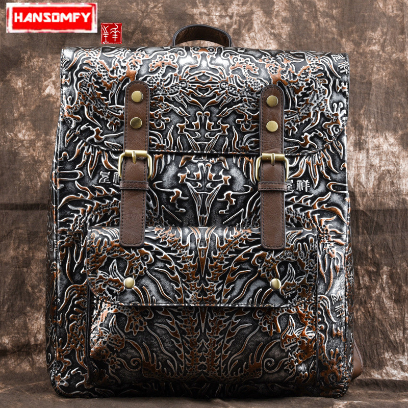 Genuine leather Unisex backpack casual men and women Female shoulder Bags embossed personality retro backpacks