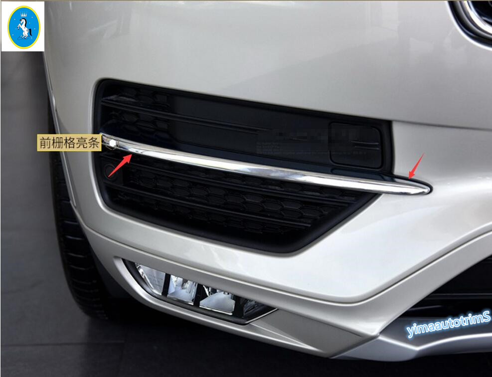 Lapetus Accessories For Volvo XC90 2016 2017 2018 ABS Chrome Front Fog Light Lamp Eyelid Cover Trim Kit