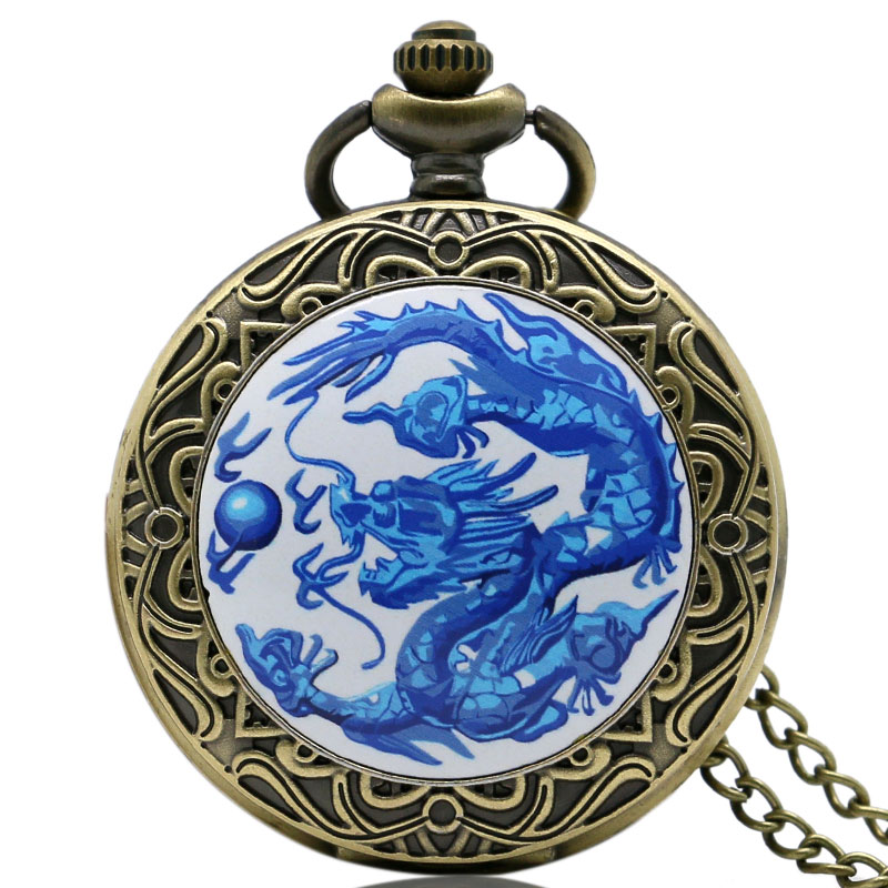 Retro Blue Chinese Dragon Theme Case Old Bronze Fob Pocket Watch With Chain Necklace For Men/Women