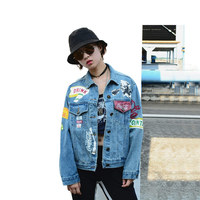 2019 Spring Casual Harakuju Denim Jacket Women Marilyn Monroe Pattern BF Style Jean Jacket Coat