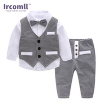 Boys New Year Gentleman Clothes Sets Hight Quality Cotton Striped Bow Tie Baby Boy Clothing Vest