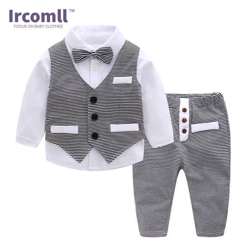 Boys New Year Gentleman clothes Sets Hight Quality Cotton Striped Bow Tie Baby Boy Clothing Vest+Shirt+Pants Baby Coverall 0 3Y