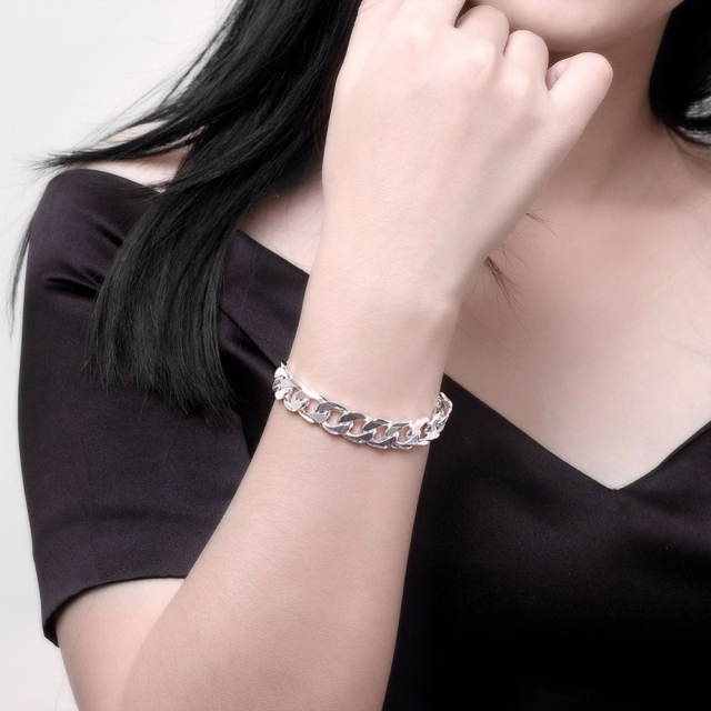 925 sterling silver 10MM Square Buckle Nice Jewelry Men Bracelet 21CM Sideway Link Chain Bracelet Male Bangle Pulseiras de Prata 1