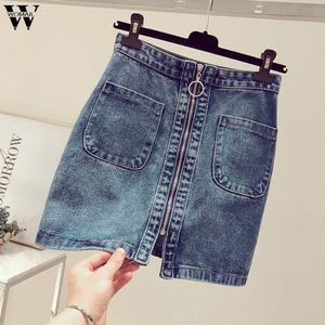 Womail Denim Skirt Short Pocket Zipper High-Waist Korean Fashion Student Summer New A1