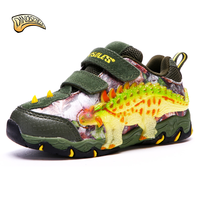 Dinoskulls 2018 Spring Autumn children shoes leather non-slip with light 3D stereo dinosaur shoes boys sneakers #27-24 claladoudou spring autumn children sneakers genuine leather red girls running shoes waterproof comfortable boys walking shoe kid