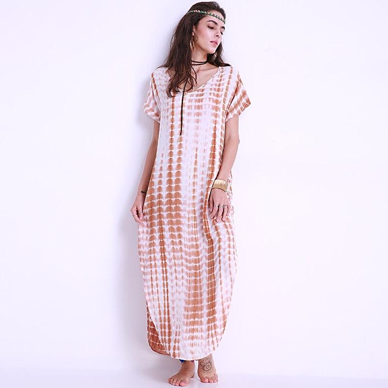 Plus Size Women Dress Tie Dye Loose Oversized Vestidos Kaftan Long Shift  Dresses Ladies Curved Hem Beach Boho Maxi Dress 2018-in Dresses from Women s  ... bf6a2d93790c
