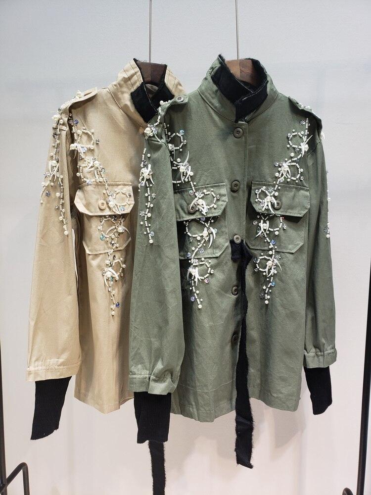 2019 Lourd Tissé Passante coat Diamant Uniforme Orné Manteau Bande Apricot De Perles Poches Vent Femelle armygreen Lâche Coupe Trench vent Travail Militaire ulwXZTOiPk