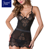 Burvogue Black Sexy See Through Lace Babydolls Sleepwear Lingerie Lace Nightgown One Piece Lingerie Sleepwear