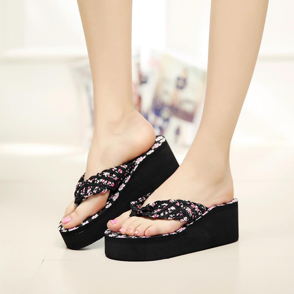 Women Beach Flat Heel Rhinestone Flower Ankle strap Flip Flop Sandals Holiday