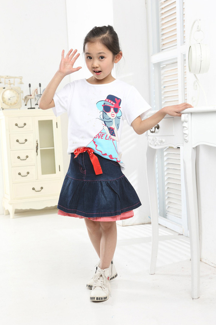 5a3bf5907 kids clothes Casual denim skirt suit girl dress sets Cute Cotton girls  clothes imported toddler girl clothing vetement enfant