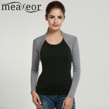 meaneor  women short shrug top autumn casual fashion long sleeve solid stretchy fabric open stitch black bolero shrug top