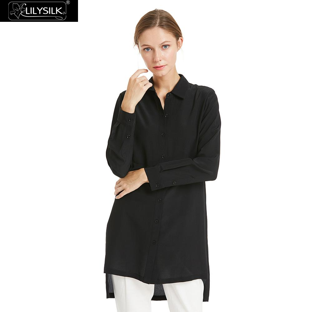 2069a26655196 LILYSILK Shirts Blouse 18mm Relaxed Fit Stand Collar Silk 100% Crepe de  chine Lightweight Wrinkle-resistant Free Shipping