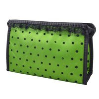 5 Pcs Of Lady Zippered Lace Dotted Mesh Rectangular Cosmetic Bag Pouch Organizer Black Green