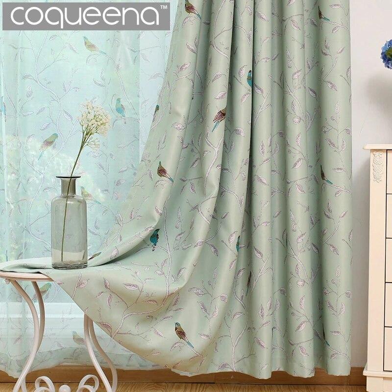 rideau occultant thermo isolant oiseaux turquoise traditionnel 1 panneau pour salon chambre d enfants chambre de princesse et de bebe